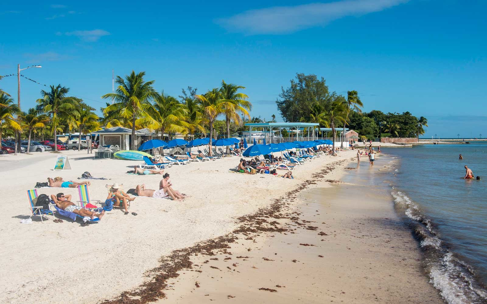 Sunbathers at Higgs Beach, Key West, Florida