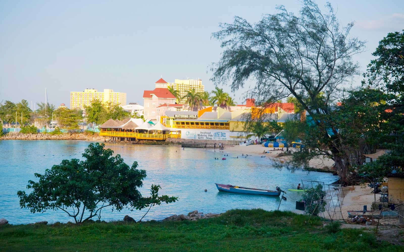 Hotels and restaurants on Ocho Rios Bay seen from Fishermans Beach, Jamaica