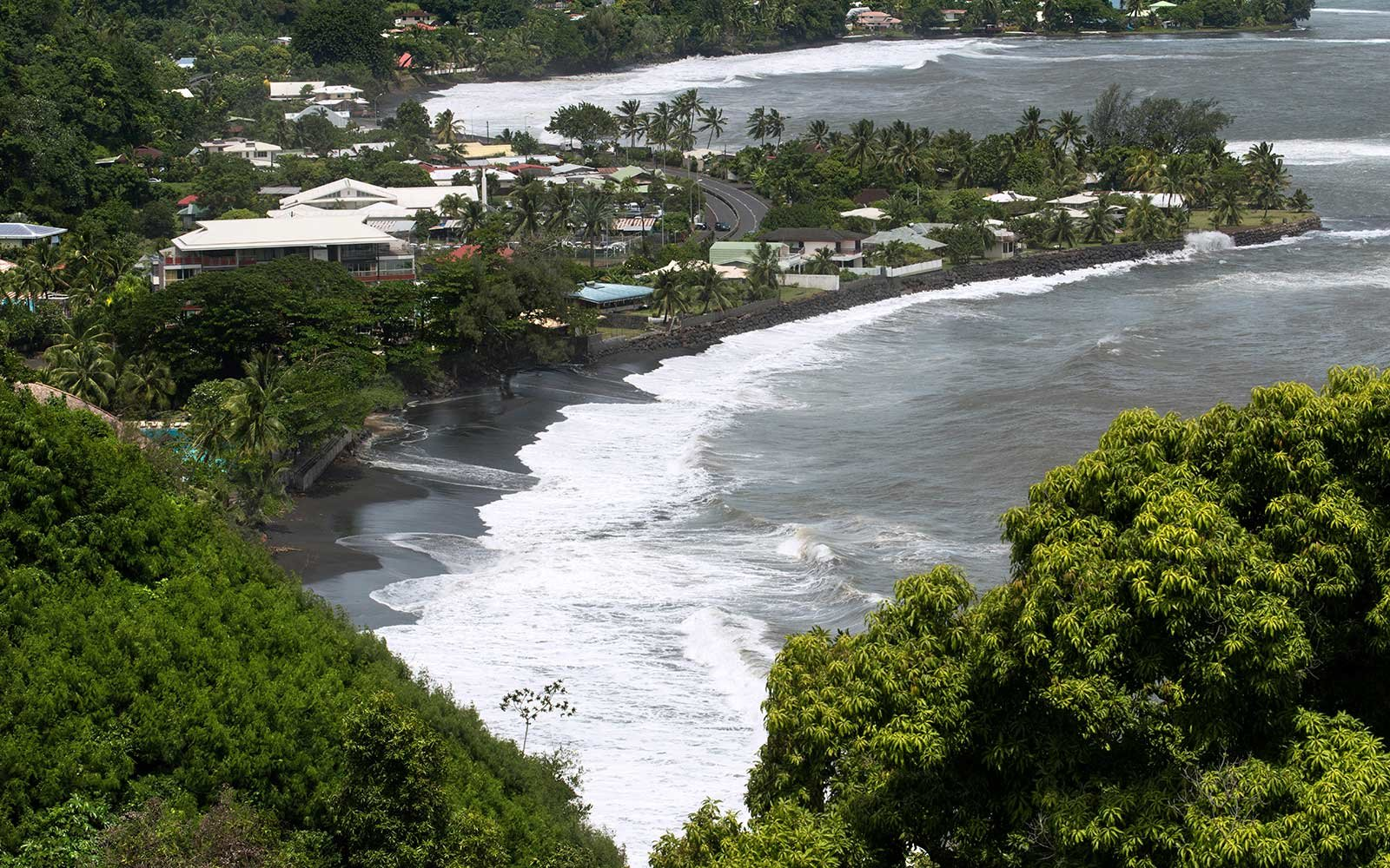 View of Lafayette black sand beach in tahiti