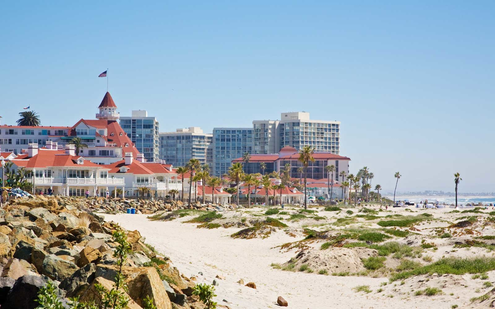 Sandy beach on Coronado Island, San Diego, California