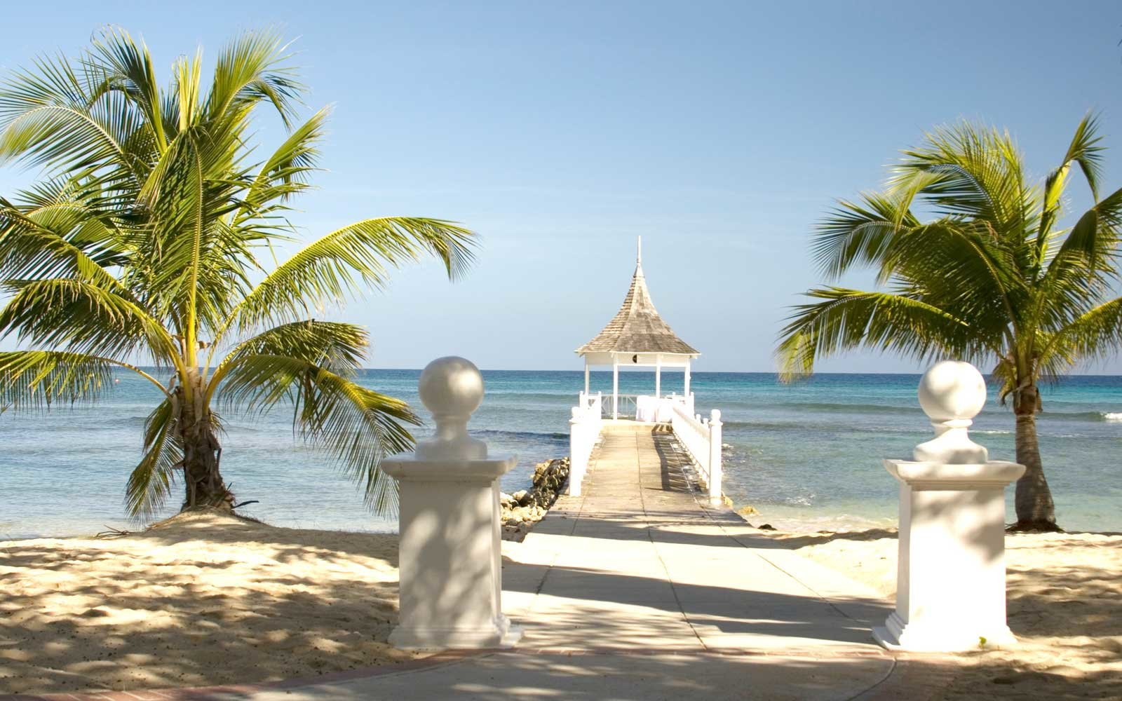Luxurious gazebo at the  Halfmoon Beach  in Jamaica near Montego Bay
