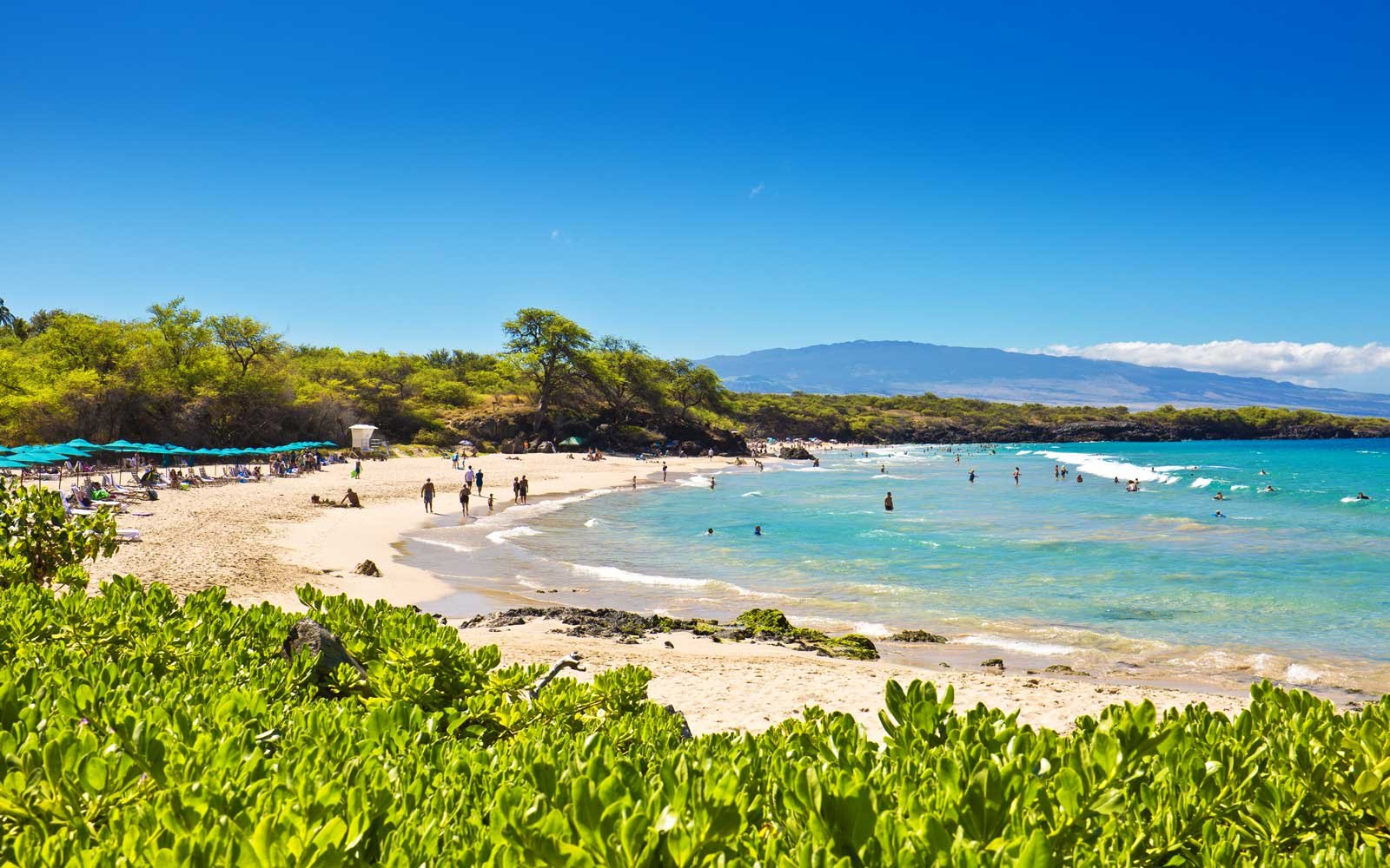 Hapuna Beach, one of the most popular white sand beach on the Big Island of Hawaii.