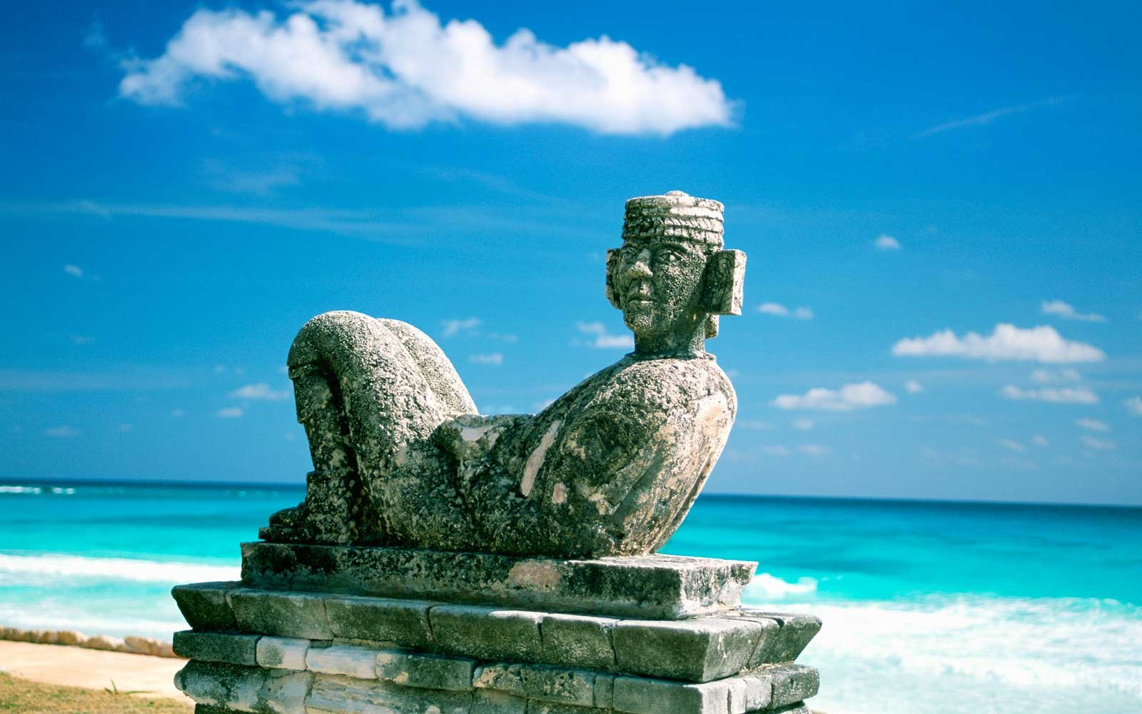 Statue on the beach at Playa Chac Mool, Mexico