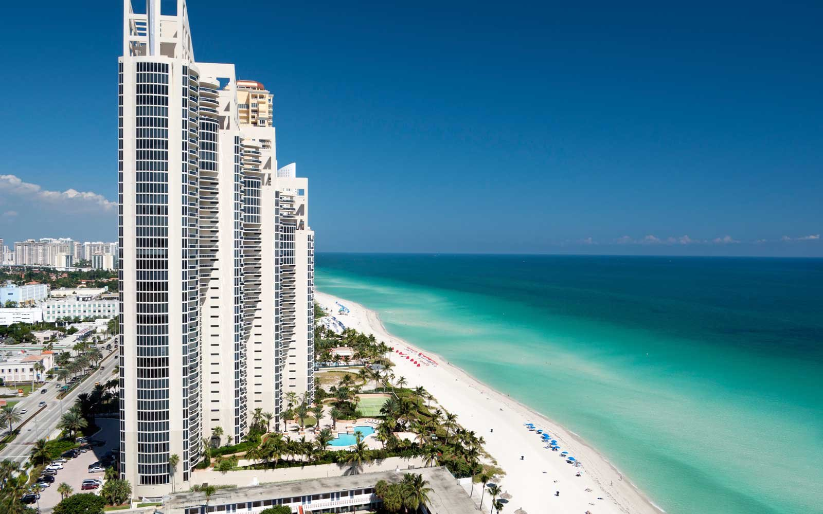 Aerial view of the skyline of Sunny Isles Beach, Miami, Florida