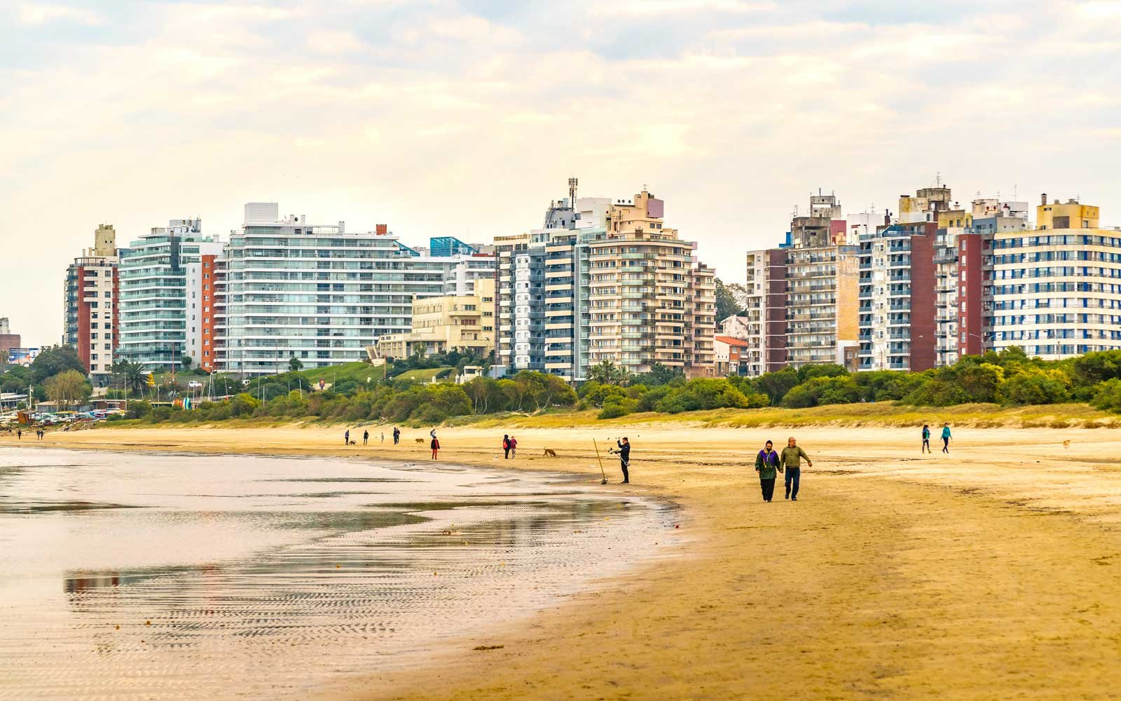 Urban day scene at malvin beach in the coast of Montevideo city, Uruguay