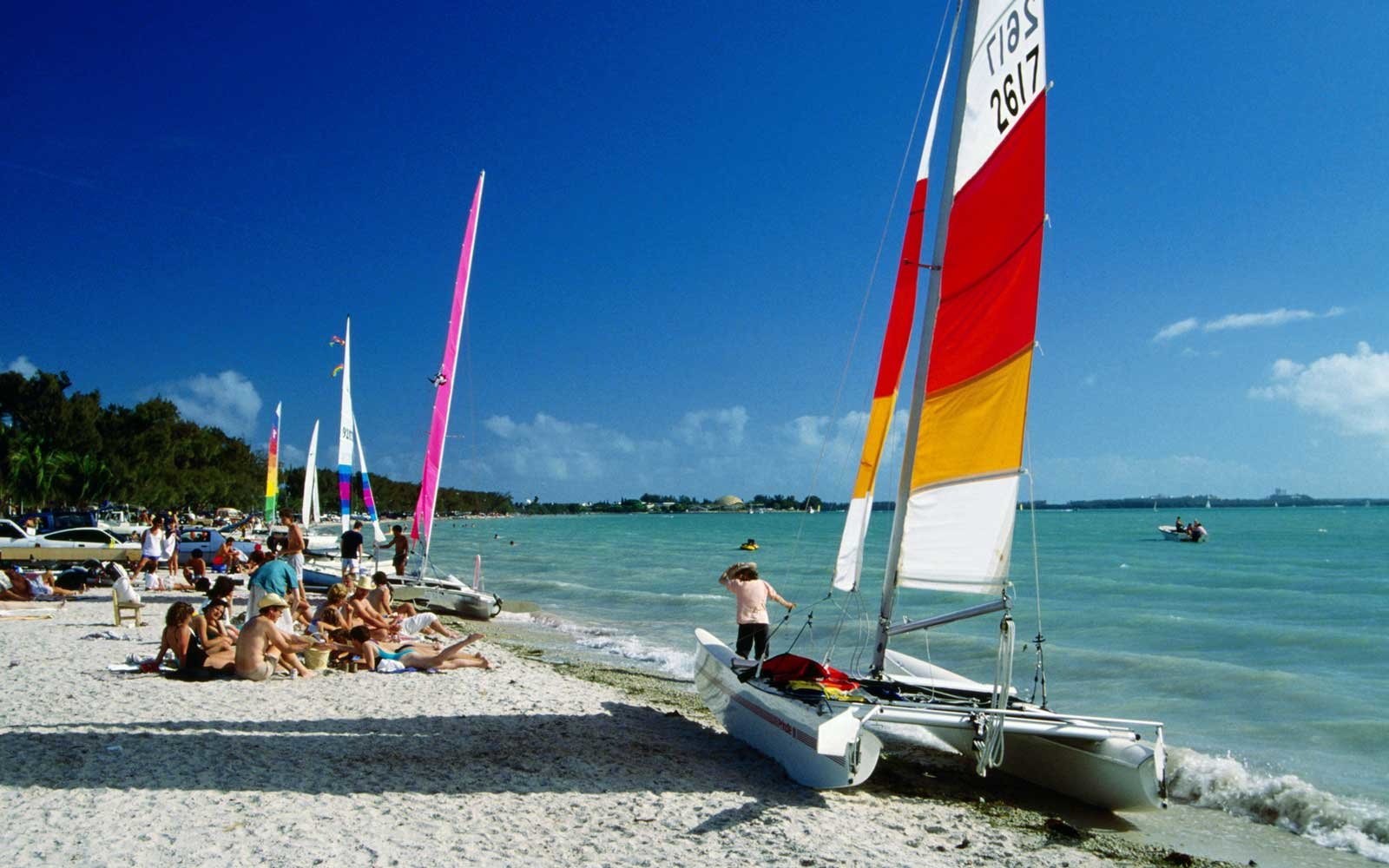 Boats on beach, Virginia Key, Florida