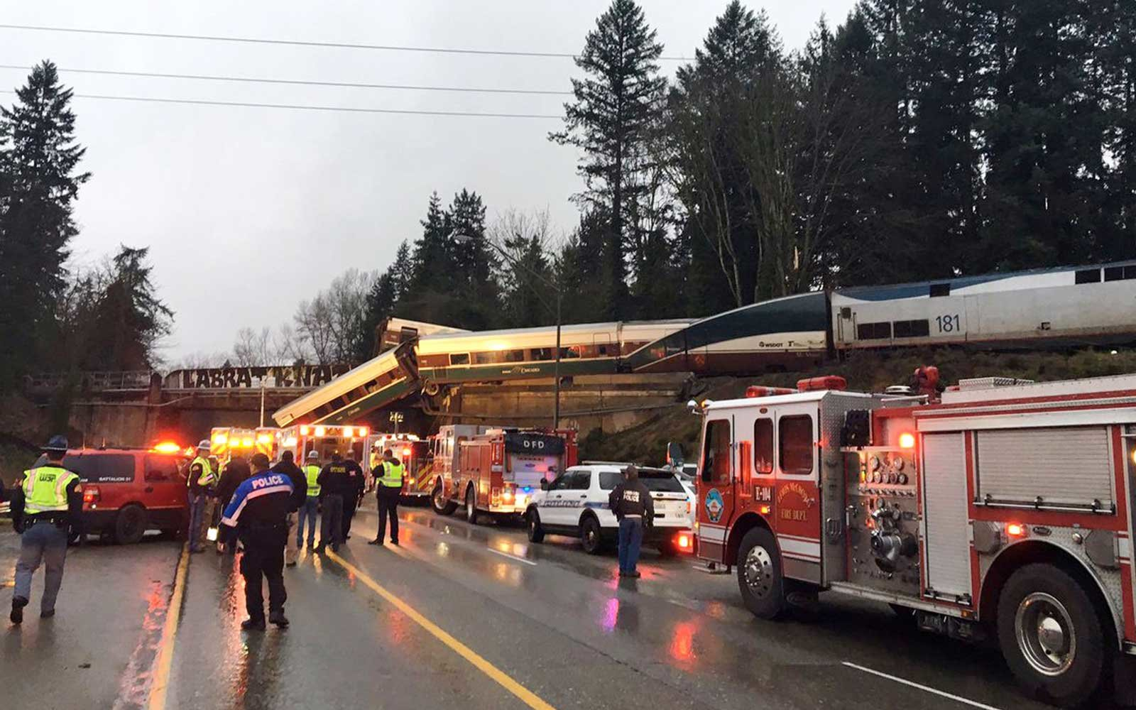 This photo provided by Washington State Patrol shows an Amtrak train that derailed south of Seattle