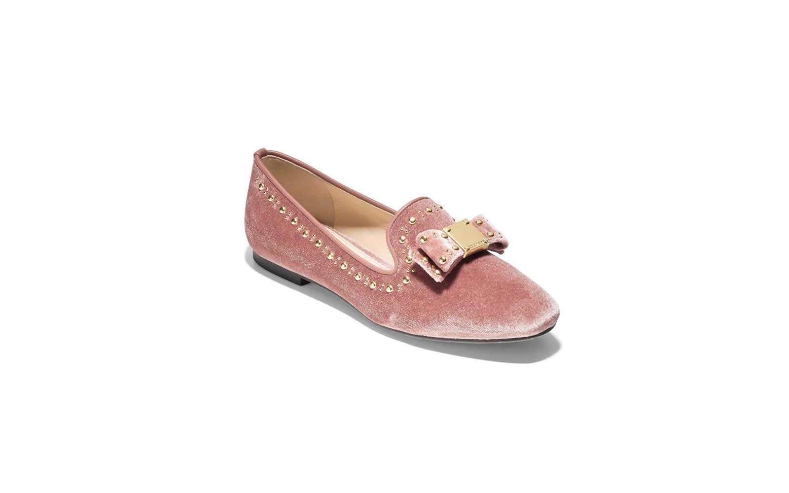 Cole Haan Tali Bow Loafer in Nude Velvet
