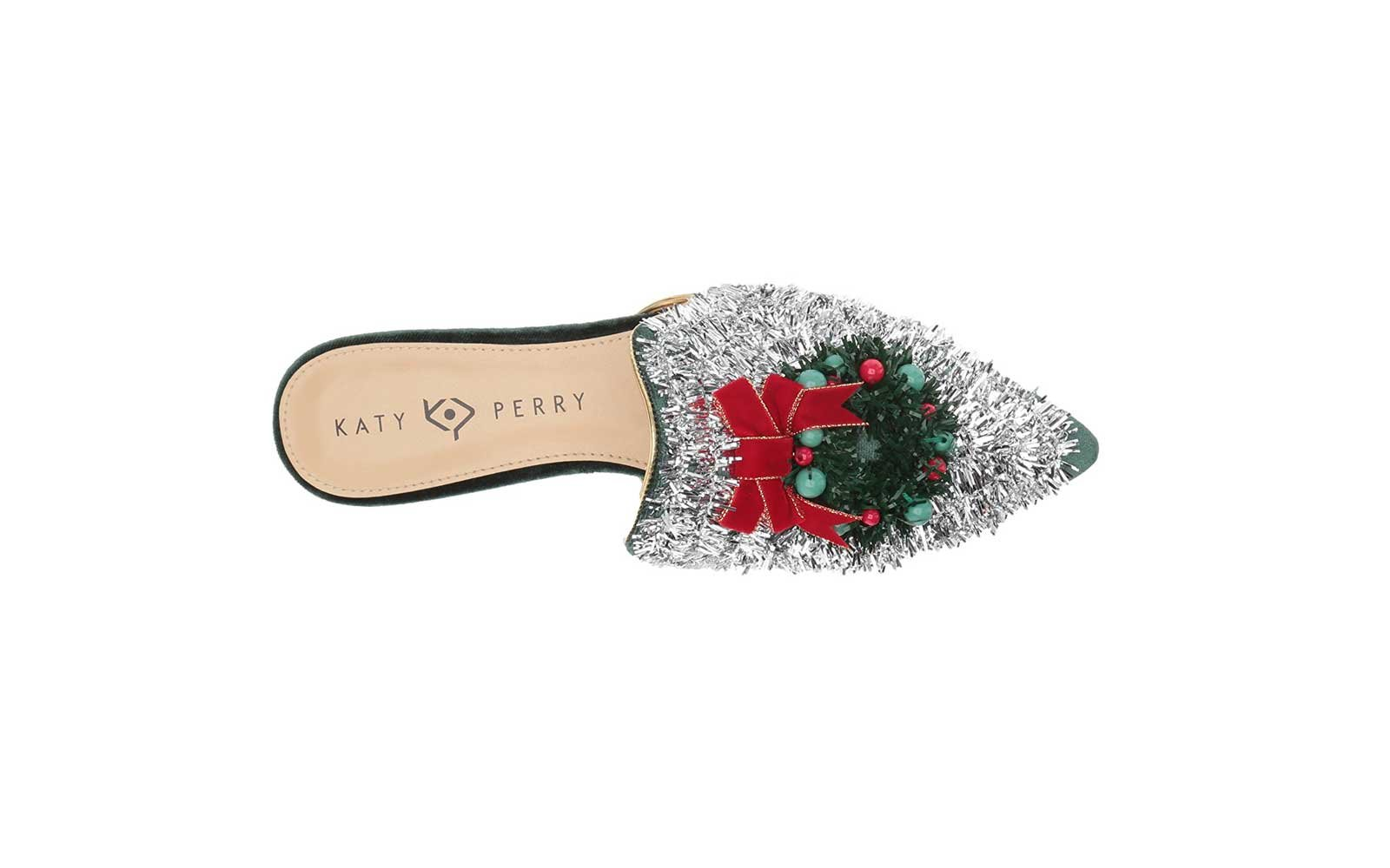 Katy Perry The Everly Velvet and Tinsel Holiday Wreath Mules