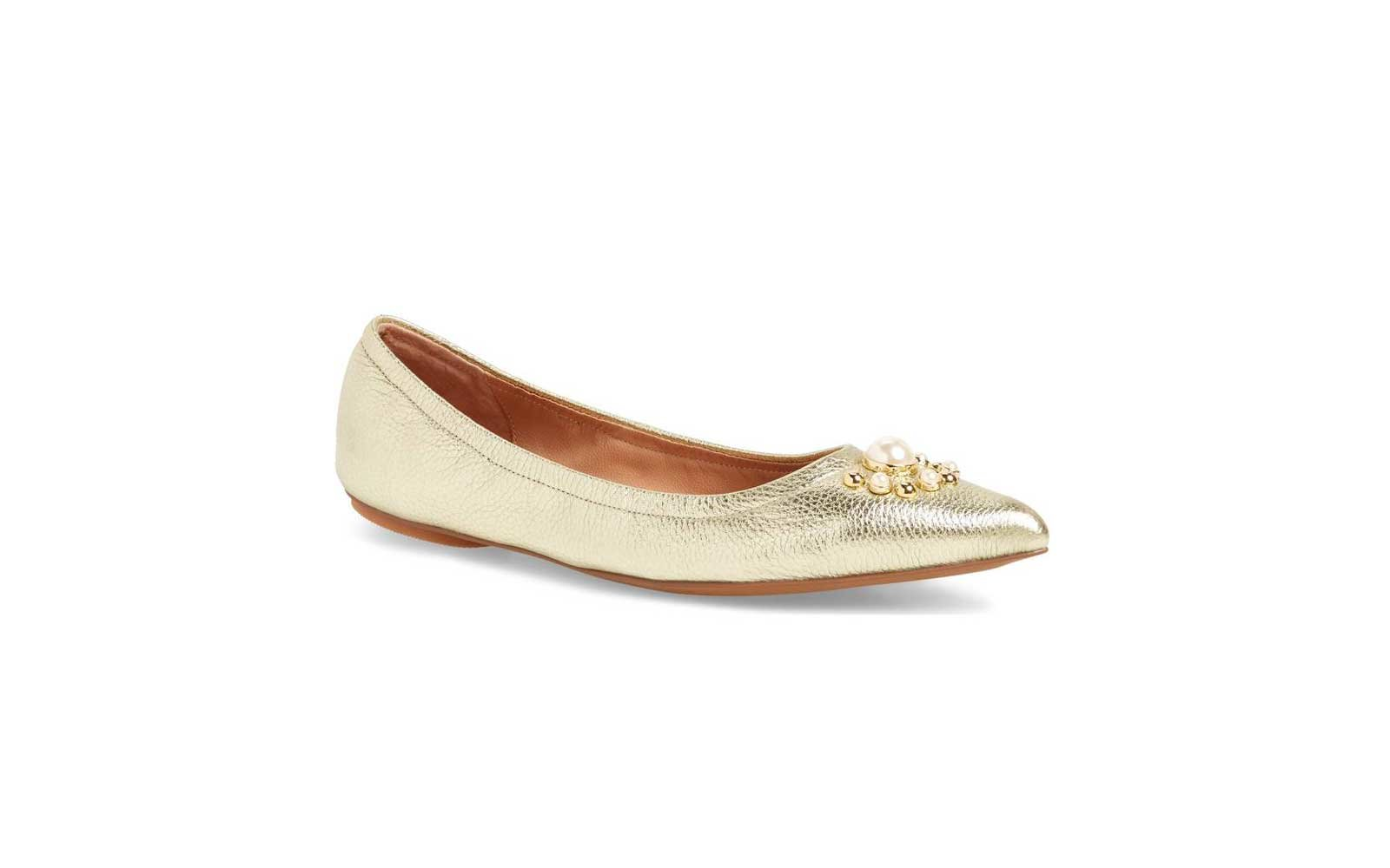 Linea Paolo Nadia Embellished Flat in Gold Leather