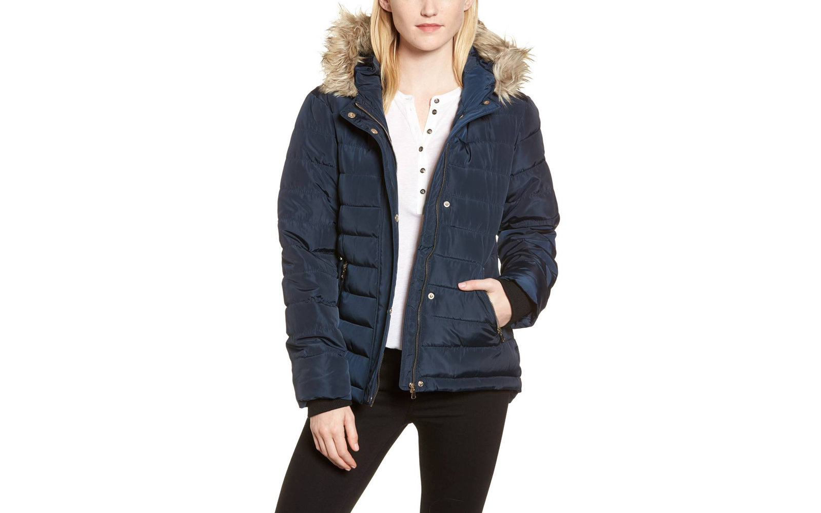 9be53a88ea47 Dorothy Perkins Women s Faux Fur Trim Hooded Puffer Jacket