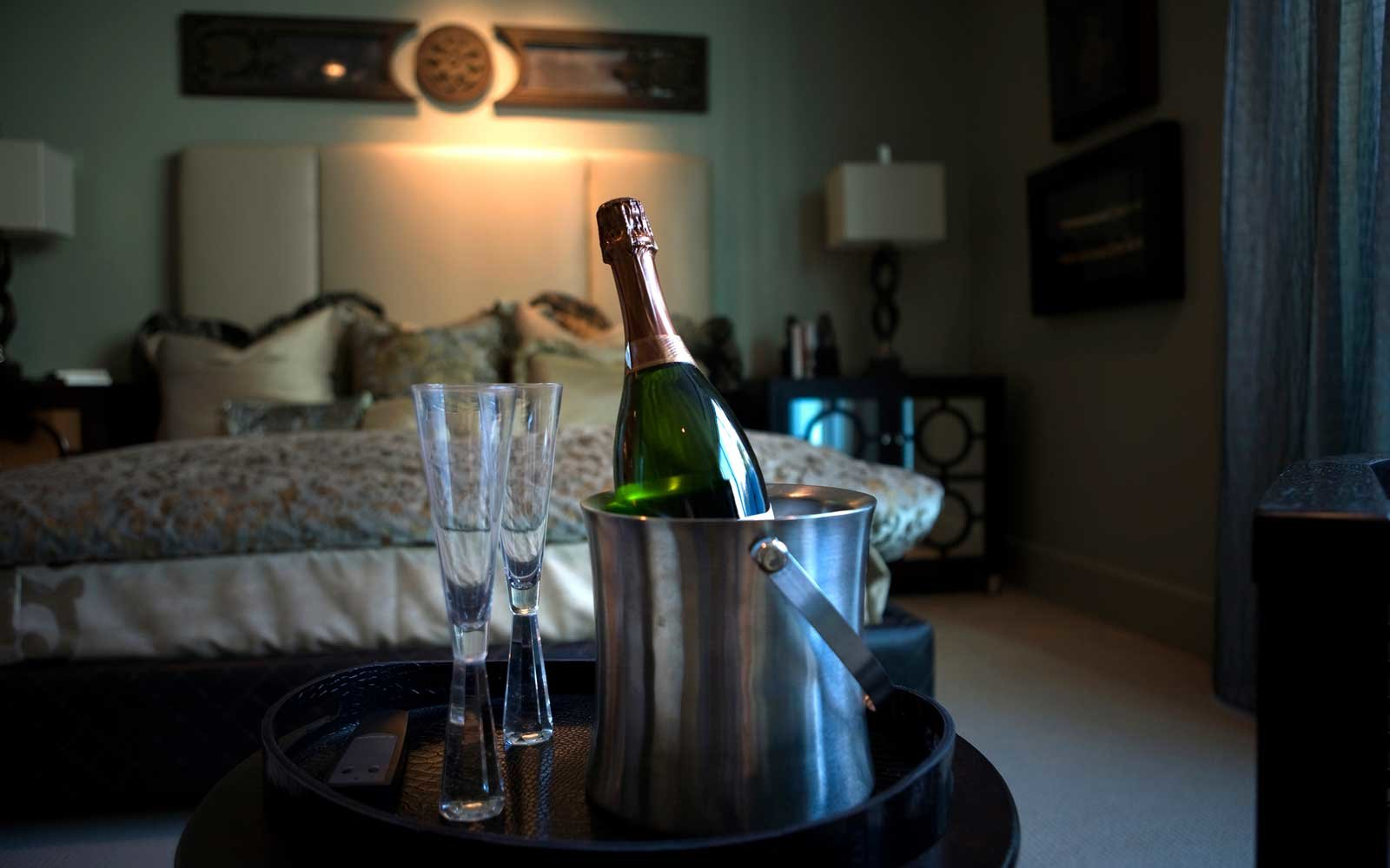 Hotel room with champagne