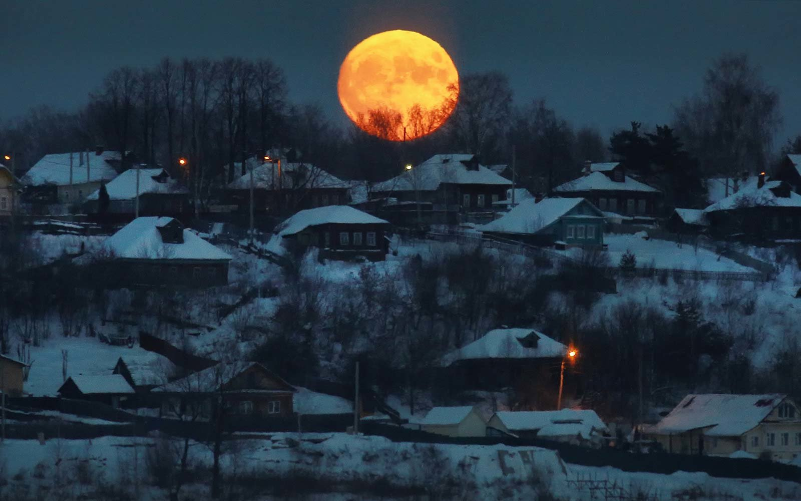 Super Blue Blood Moon Supermoon Winter View