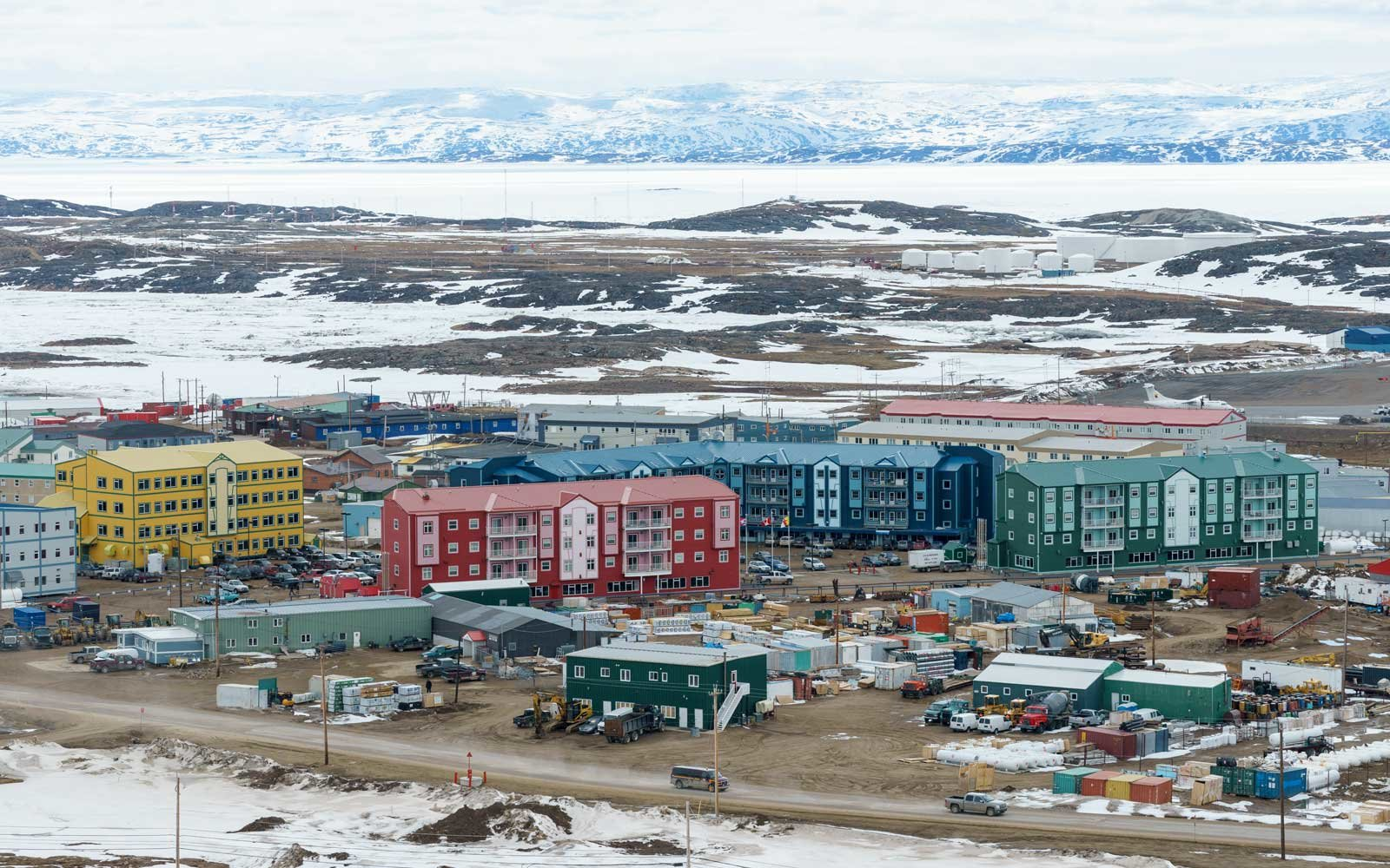 Modern arctic housing in Iqaluit, capital of Nunavut territory, Canada, in the spring.
