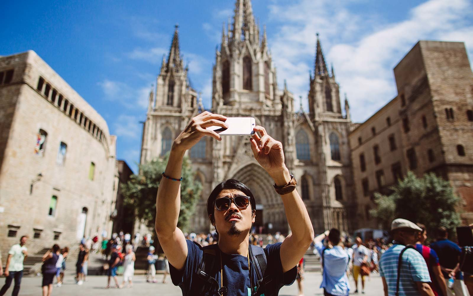 tourist travel selfie phone photos Barcelona Spain