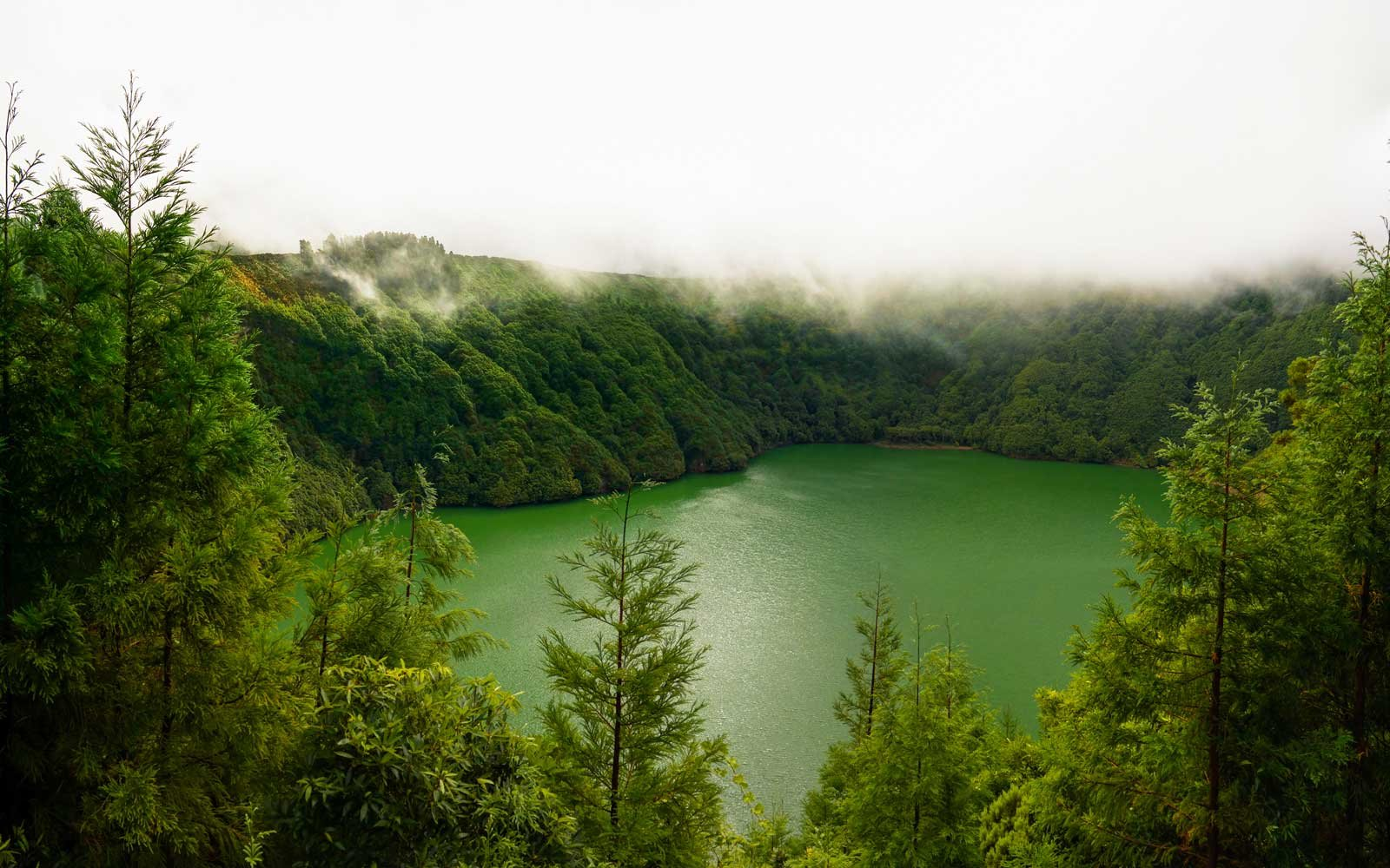 Aerial view to Lagoa de Santiago at fog, Sao Muel, Azores, Portugal