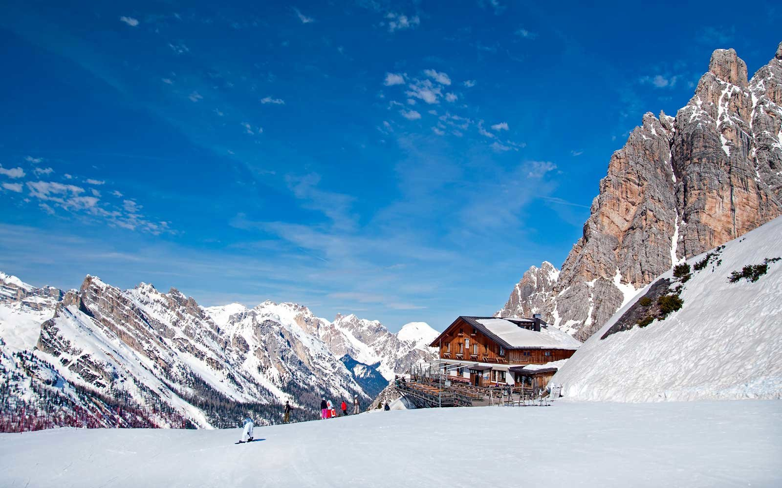 Winter landscape in Dolomites at Cortina D'Ampezzo ski resort, Italy