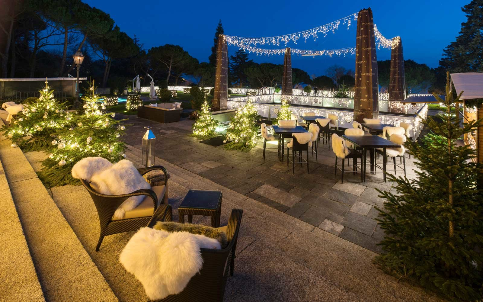 Cozy Winter Terrace of the Beau Rivage Palace Hotel, Lausanne, Switzerland