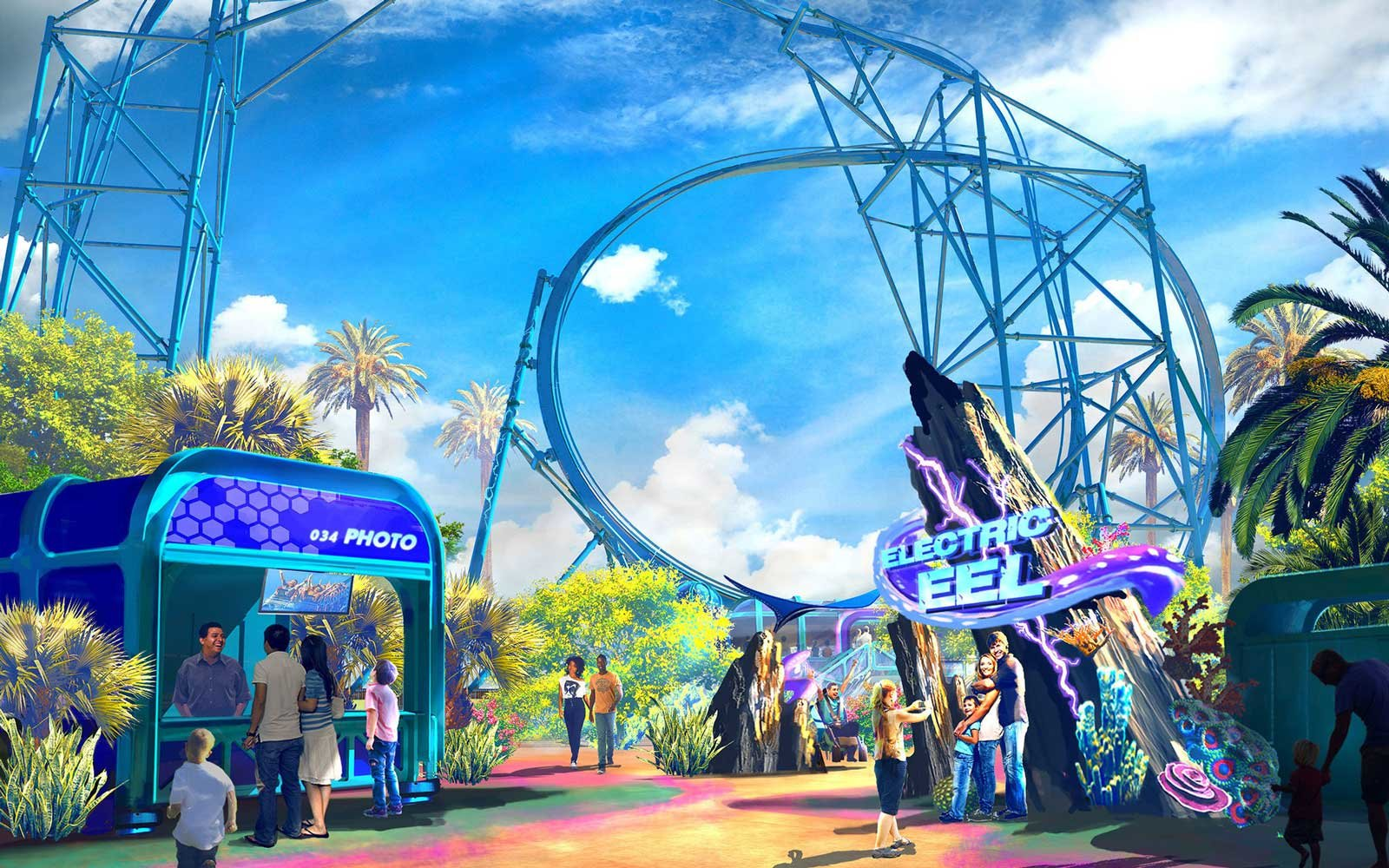 Rendering of the Electric Eel coaster coming to SeaWorld San Diego in 2018