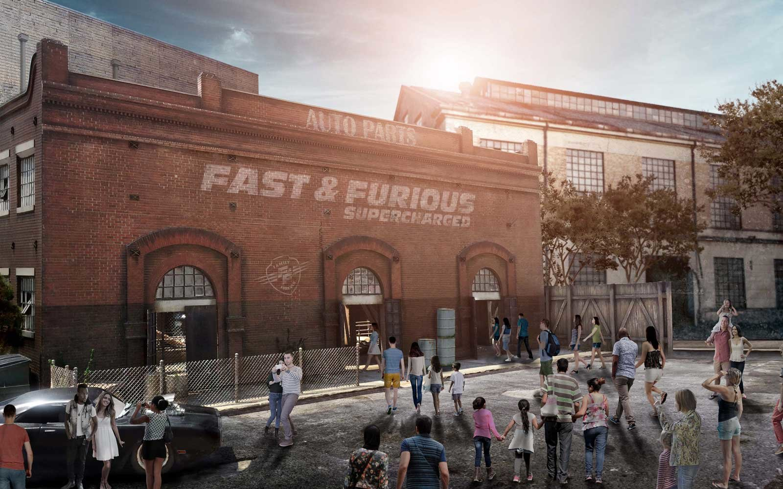 Rendering of the Fast and the Furious Supercharged ride coming to Universal Studios in 2018