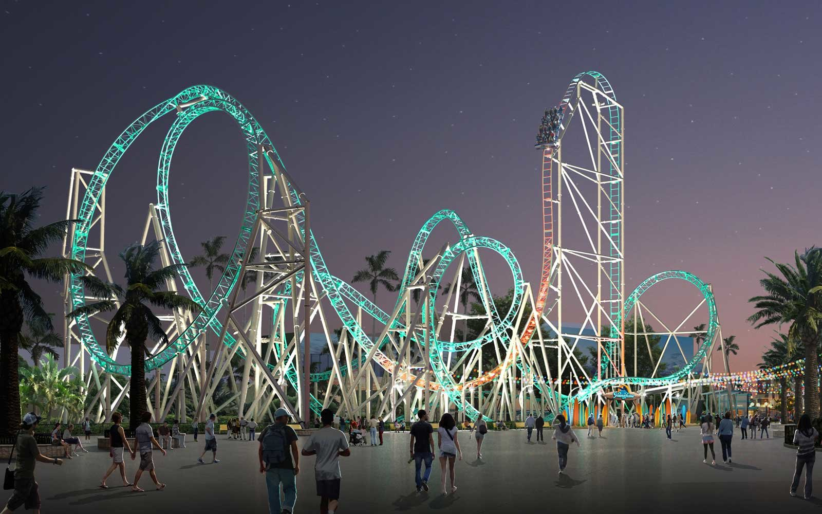 Rendering of the Hang Time dive coaster coming to Knott's Berry Farm in 2018