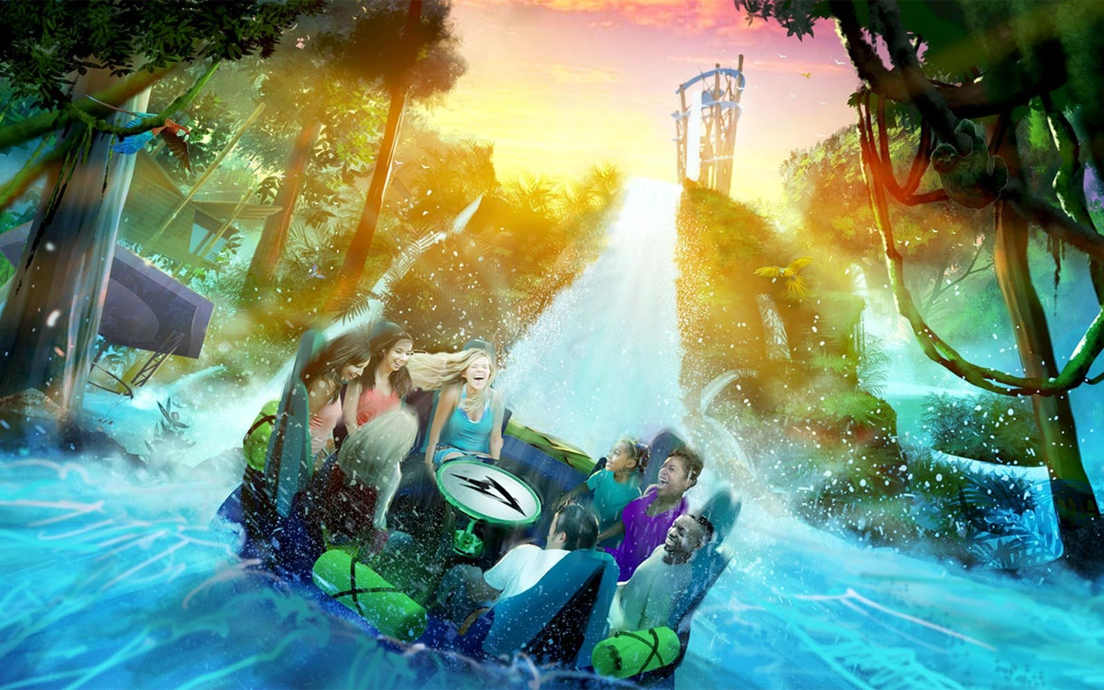 Concept art for the Infinity Falls ride coming to SeaWorld Orlando in 2018