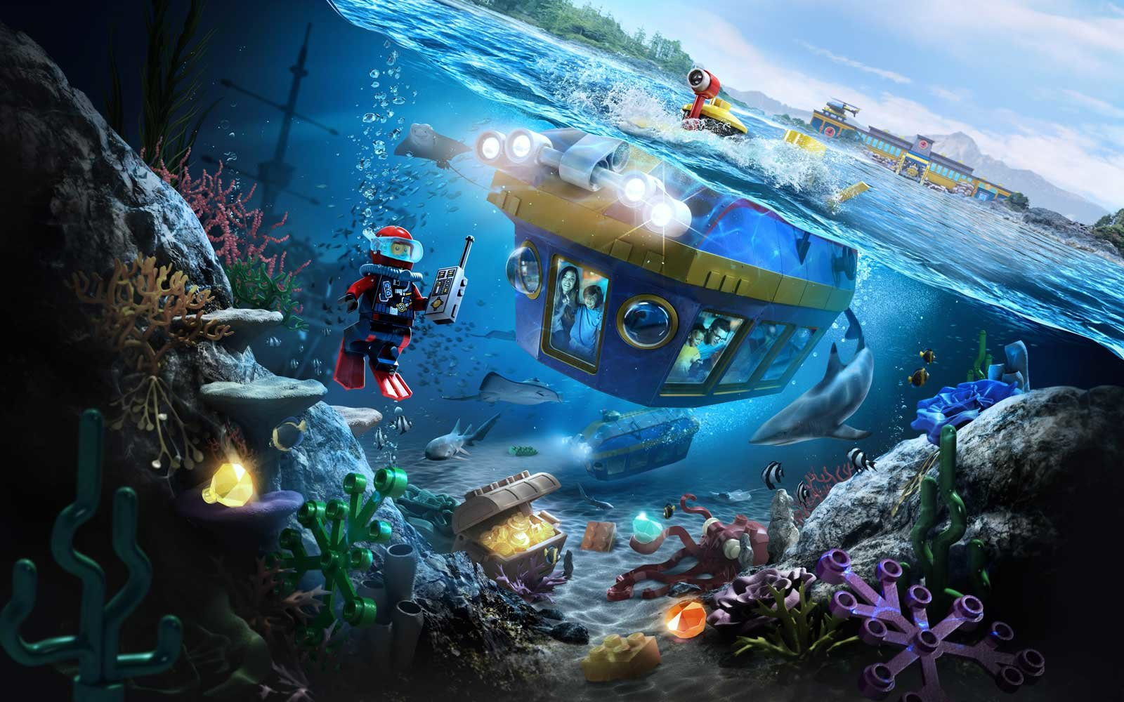 Concept drawing of the Lego Deep Sea Adventure ride coming to Legoland California in 2018