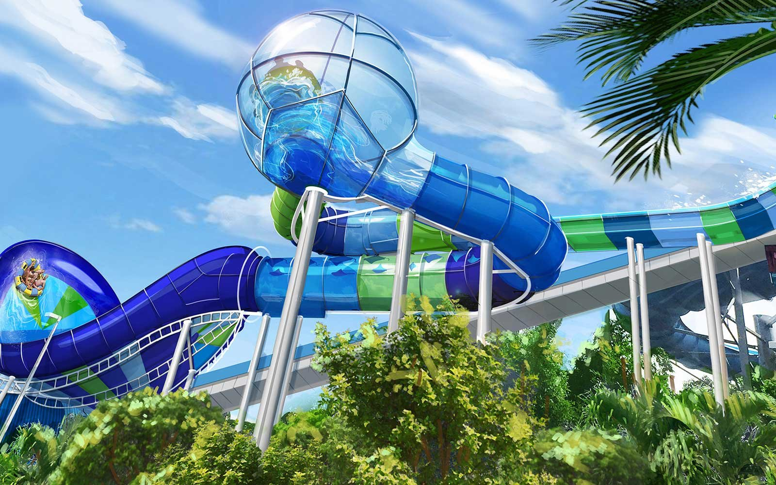 Rendering of the Ray Rush slide coming to SeaWorld Orlando in 2018