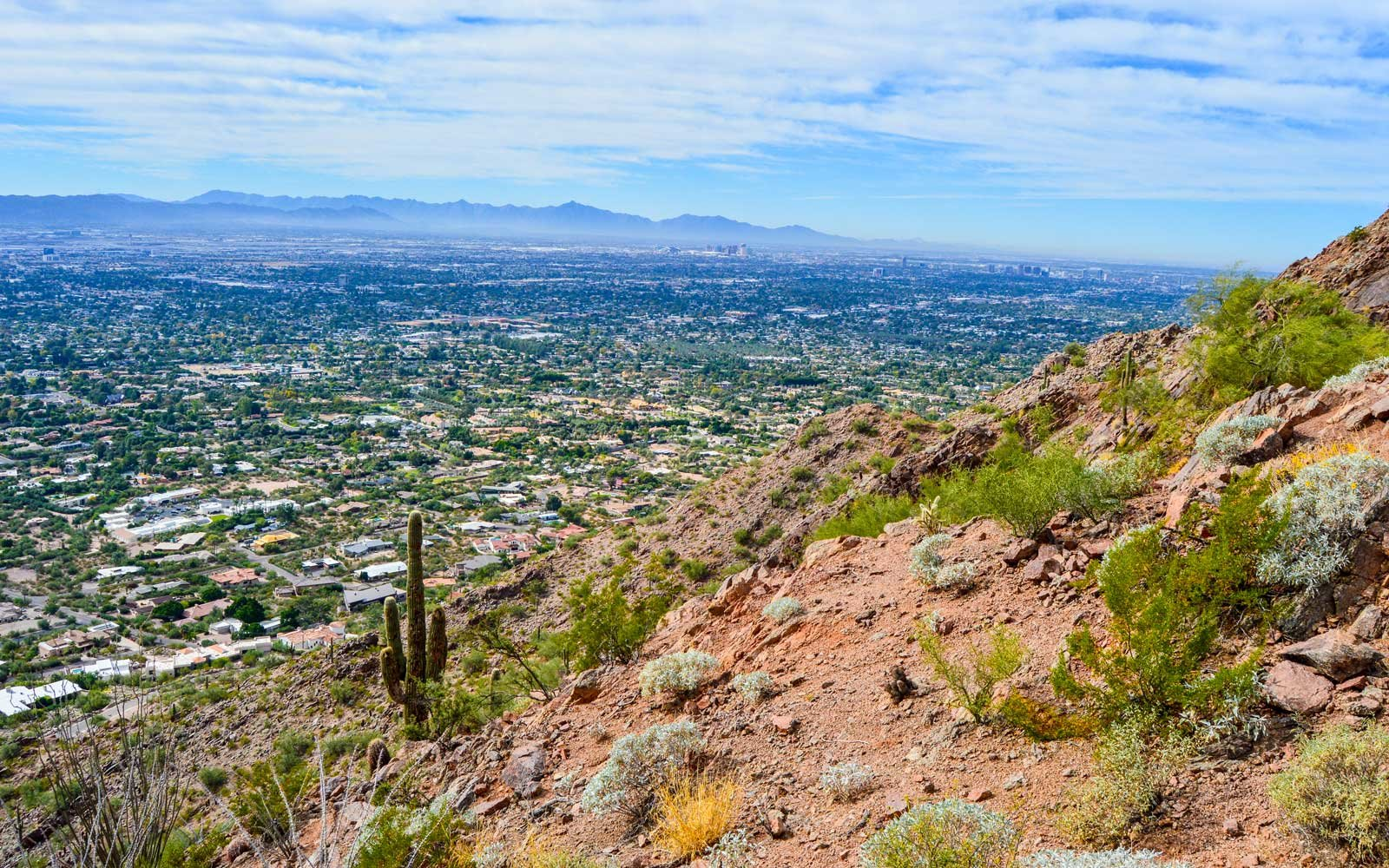 Looking down on the Phoenix desert landscape from Camelback mountain, Phoenix, AZ