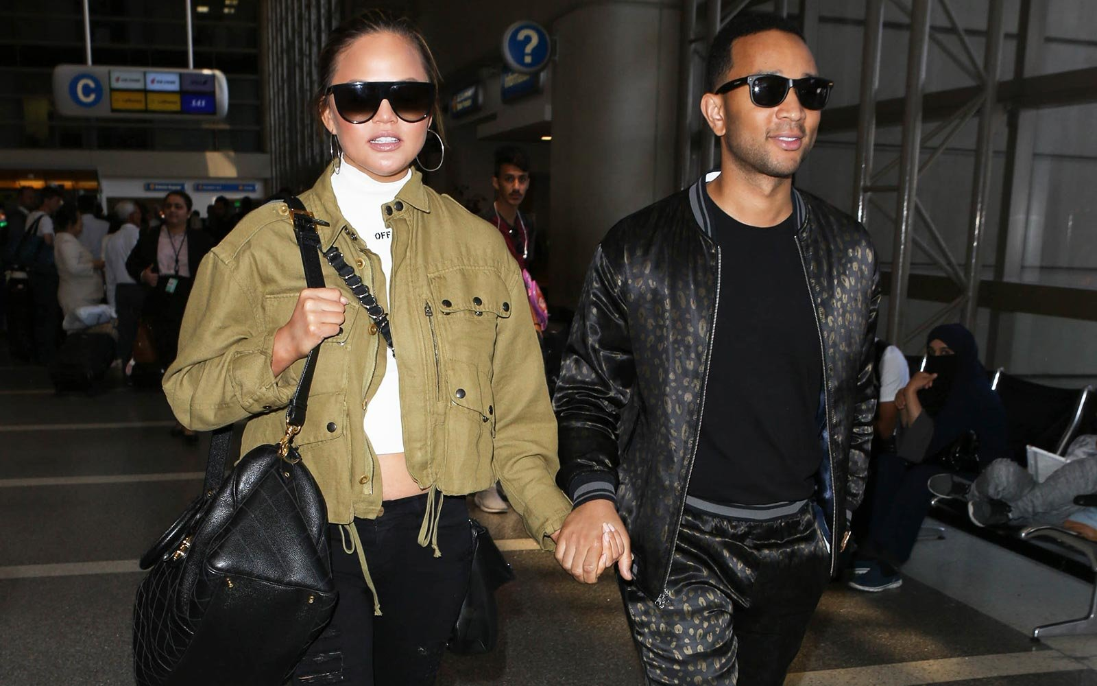 Chrissy Teigen John Legend Airport Travel