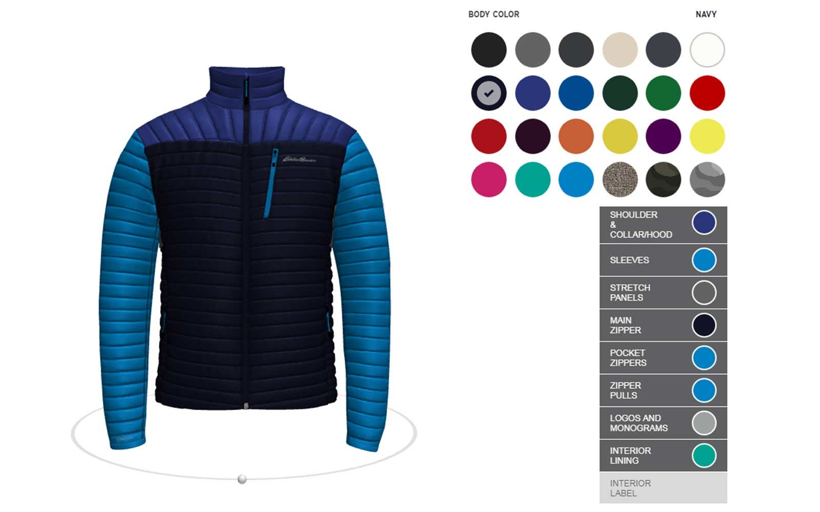 Design your own Eddie Bauer down jacket