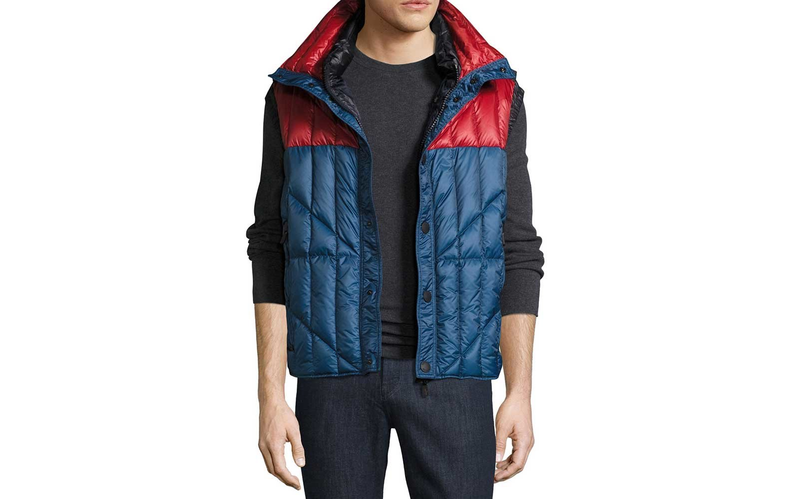 Red and blue puffer ski vest by Moncler