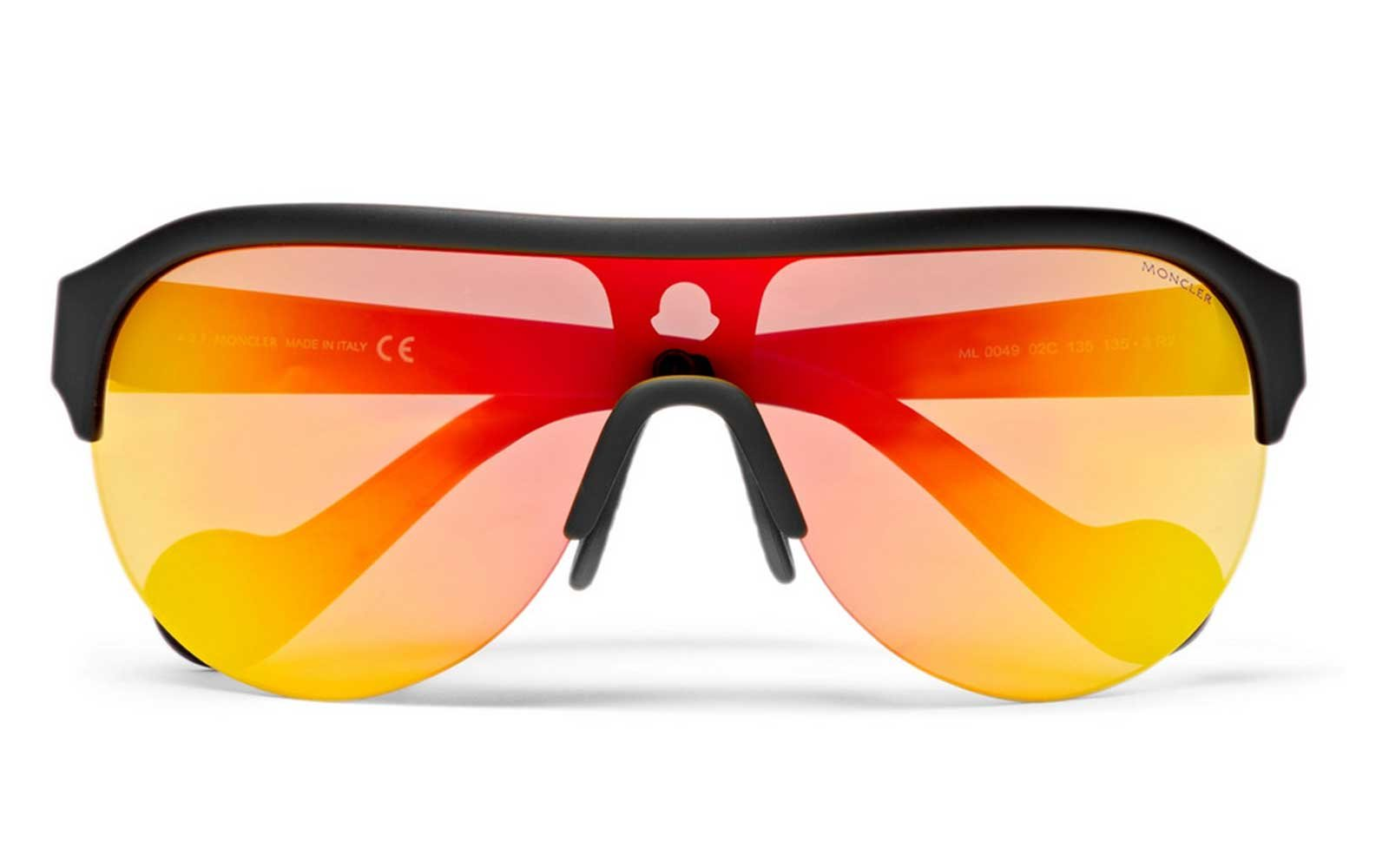 Red and yellow ski glasses by Moncler
