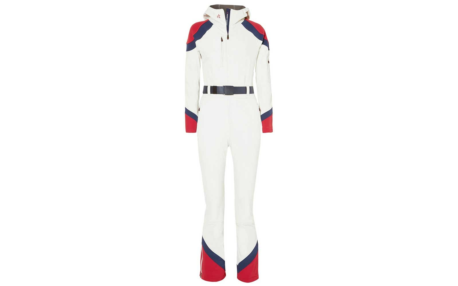 Red white and blue full body ski suit