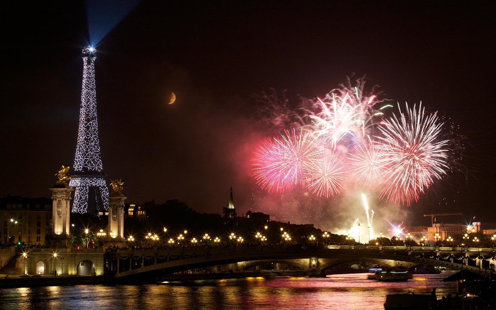 Eiffel Tower Landmark Paris France Fireworks