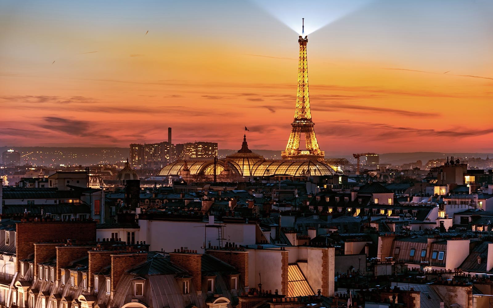 Eiffel Tower Landmark Paris France Sunset View
