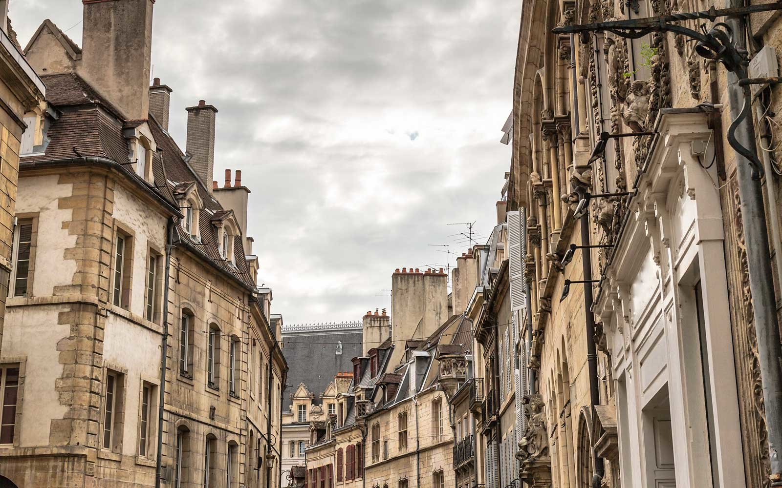 Old french street in Dijon, France