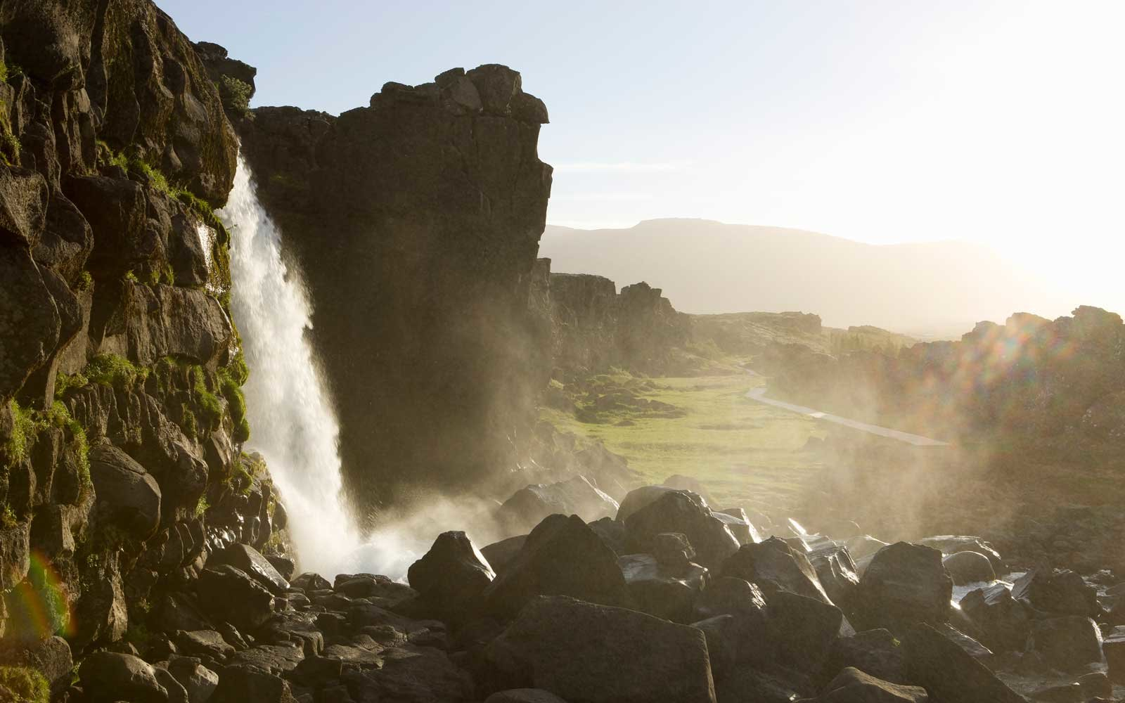 Oxararfoss waterfall, Thingvellir national park, Thingvellir, Blaskogarbyggd, Iceland