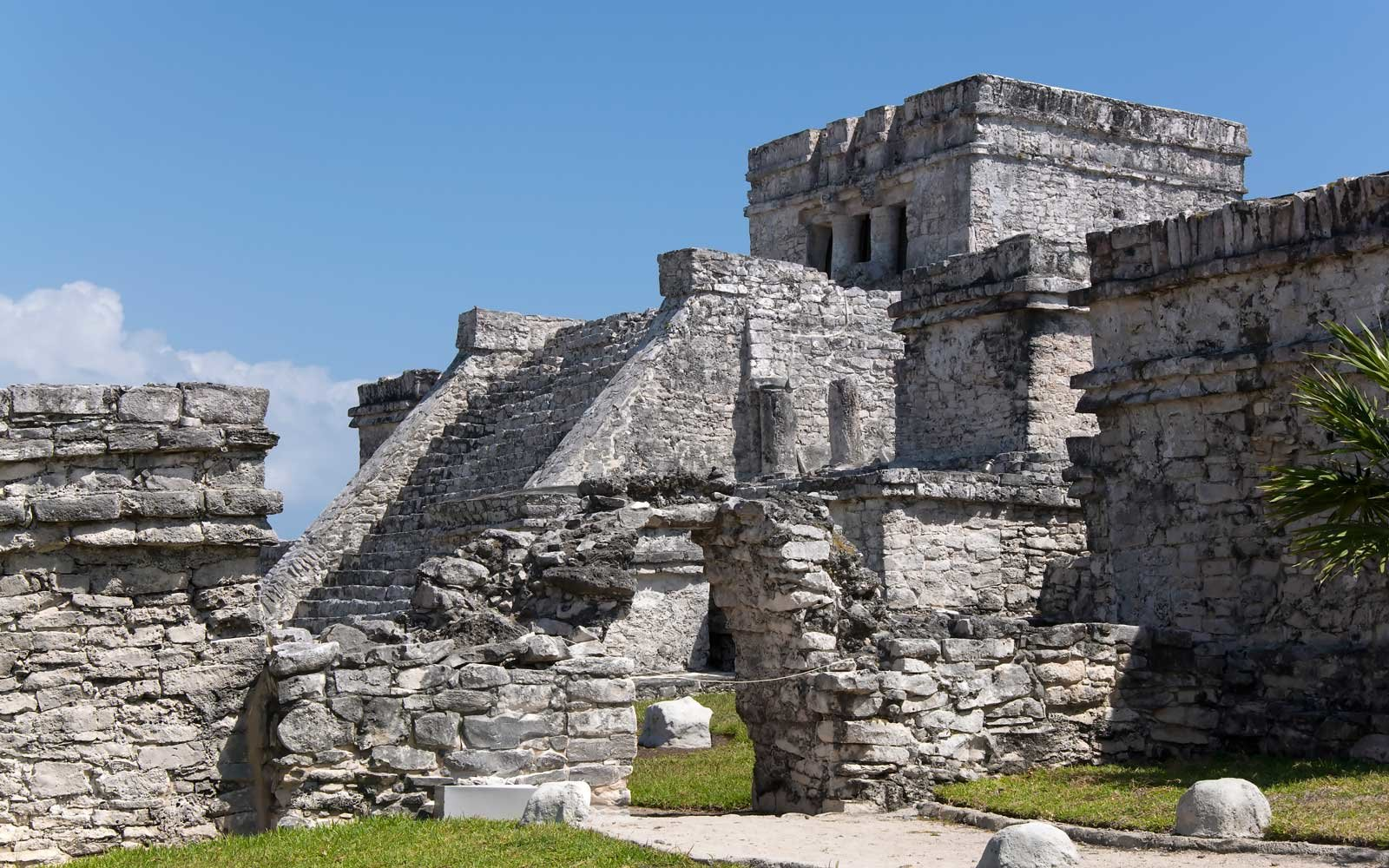 Large Mayan Ruin at the archaeological site at Tulum, Mexico