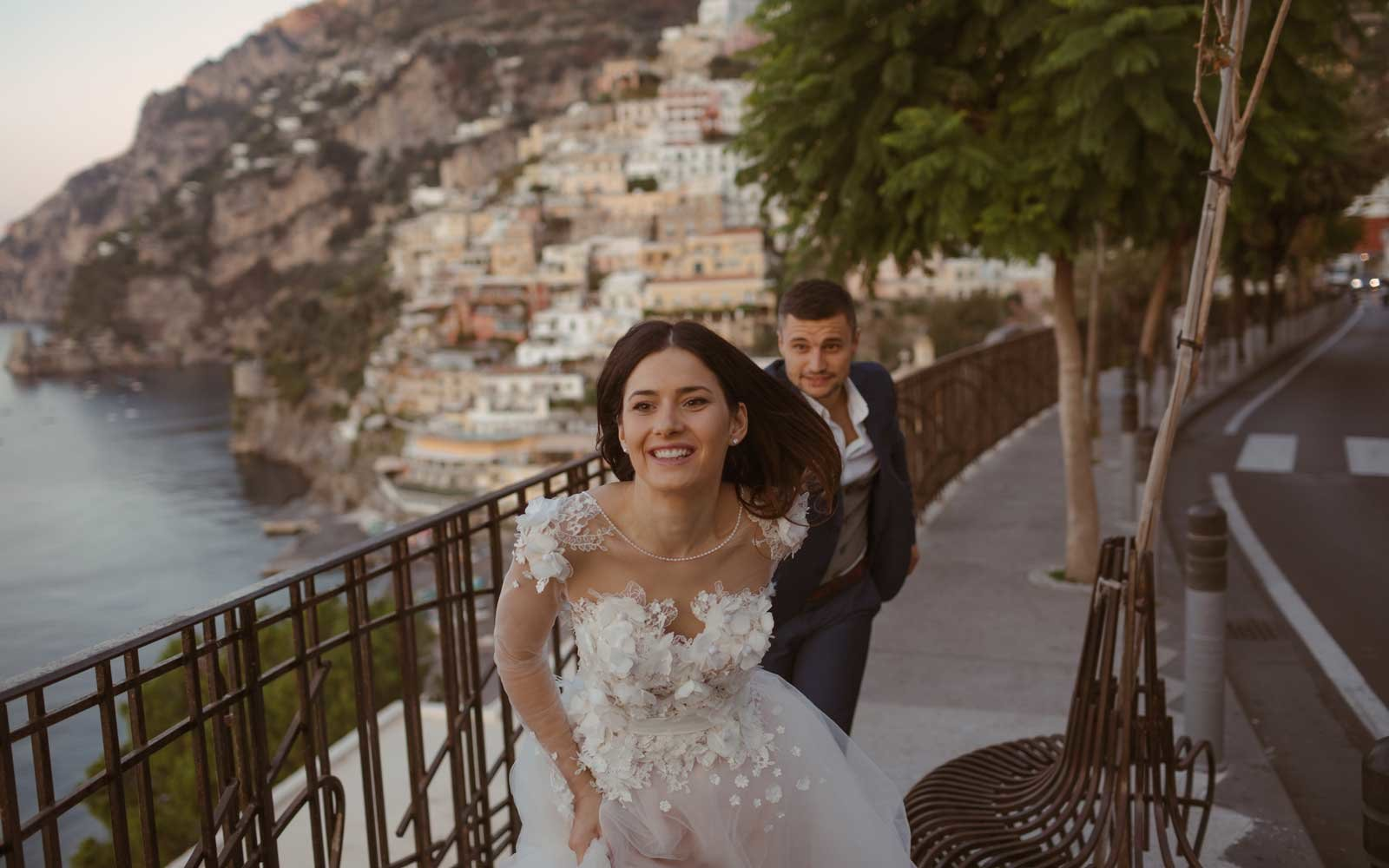 Bride and Groom in Positano, Italy