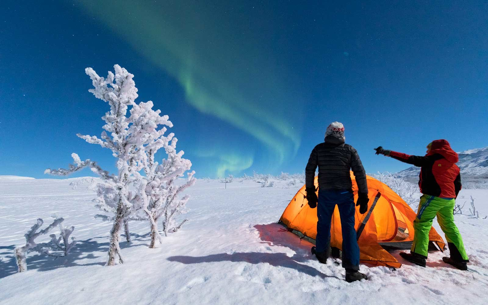Hikers outside tent look at the Northern Lights (Aurora Borealis), Abisko