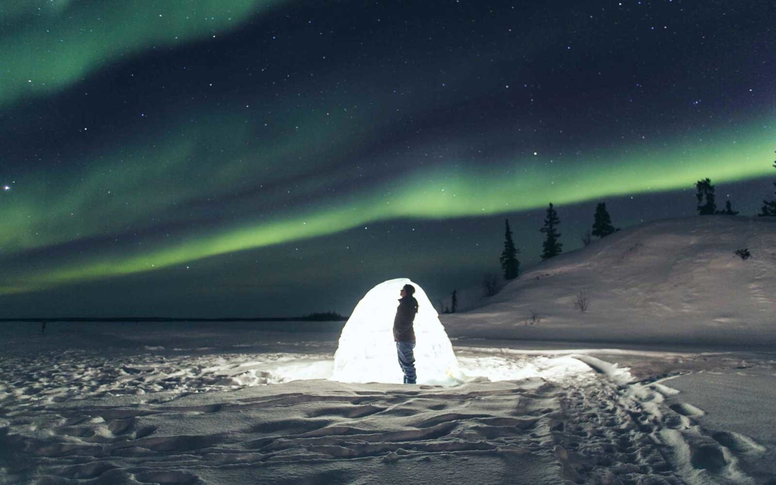 Igloo and northern lights in Yellowknife, Canada