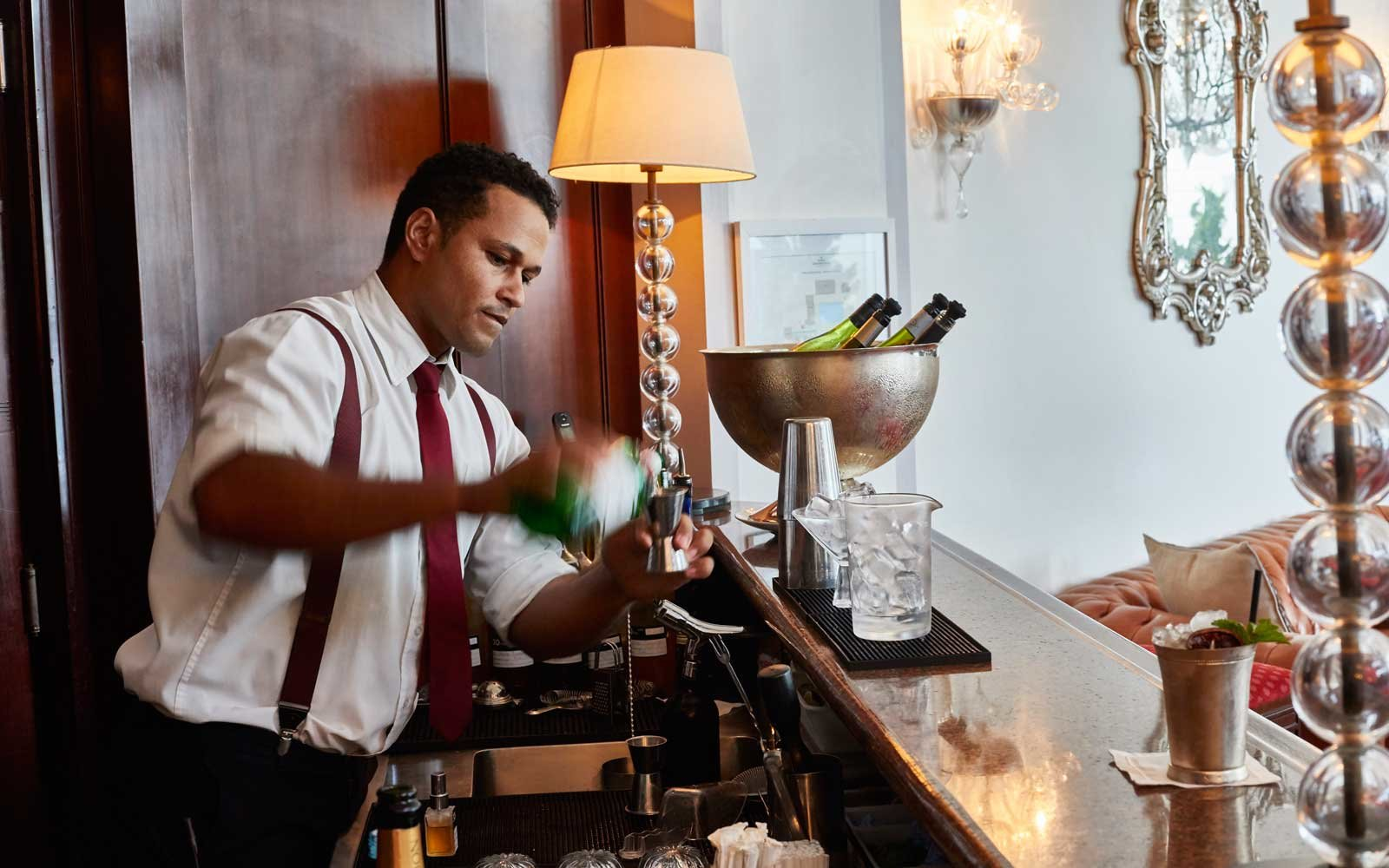 The bartender at the Belmond Copacabana Palace hotel, in Rio de Janeiro, Brazil