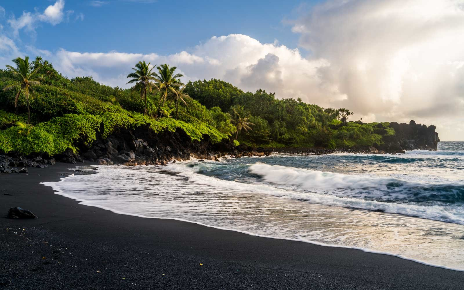 Hawaii black sand beach