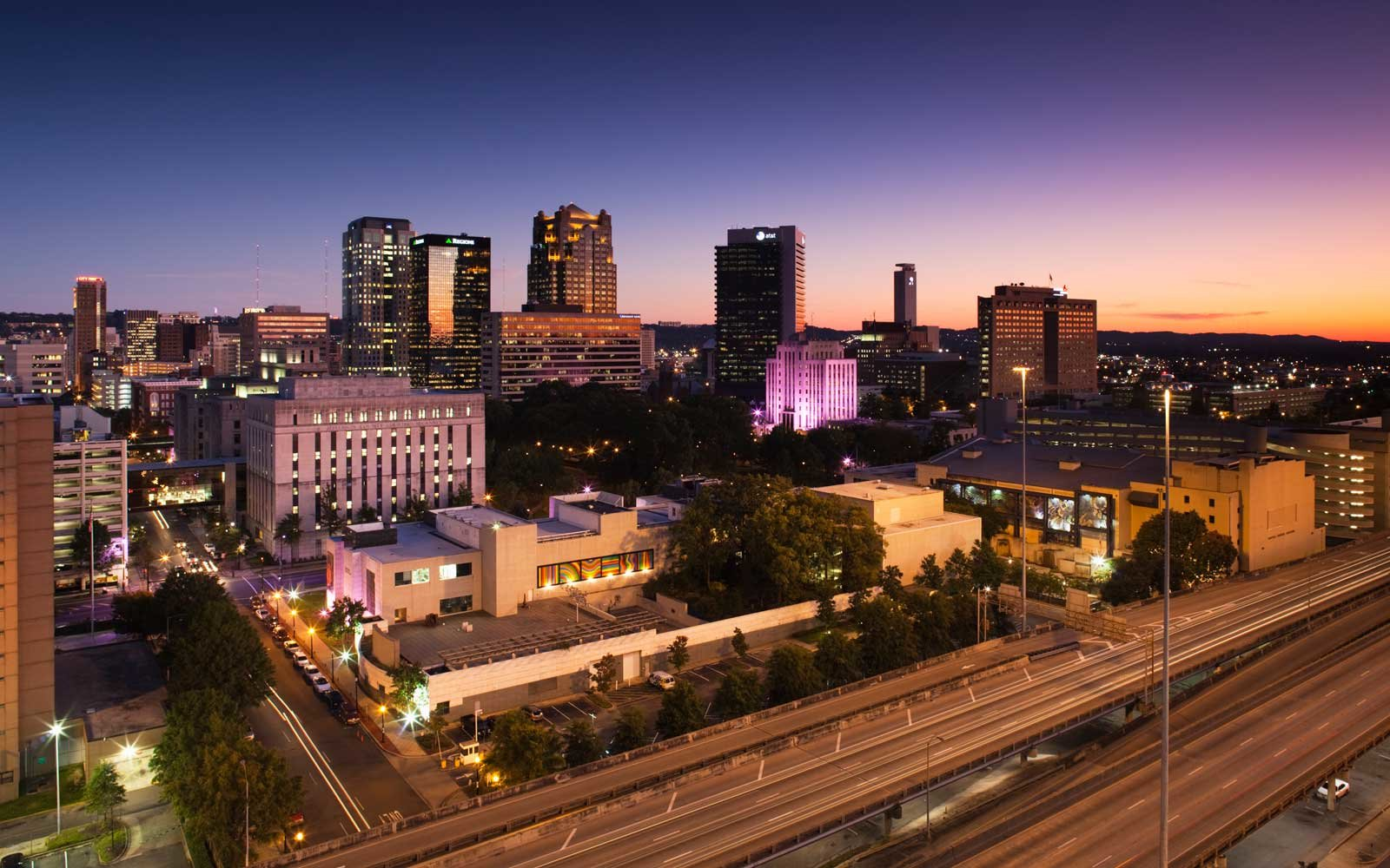 Birmingham, Alabama at dusk
