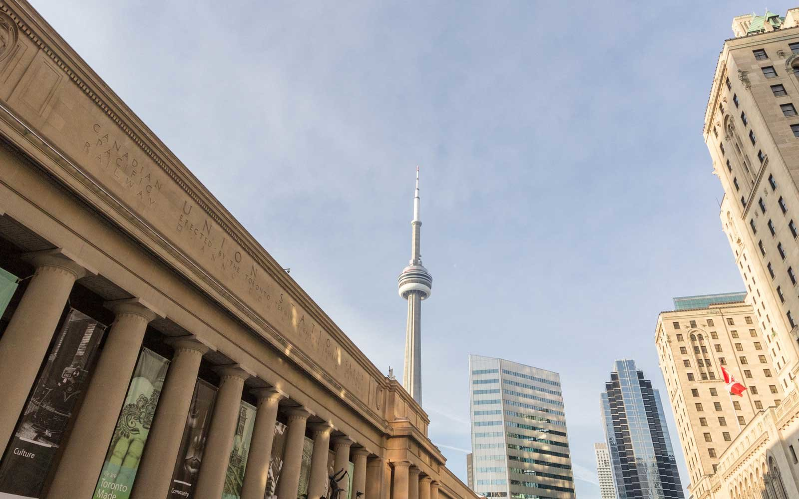 View of the Canadian National Tower (CN Tower) seen from Union Station in Toronto, Ontario
