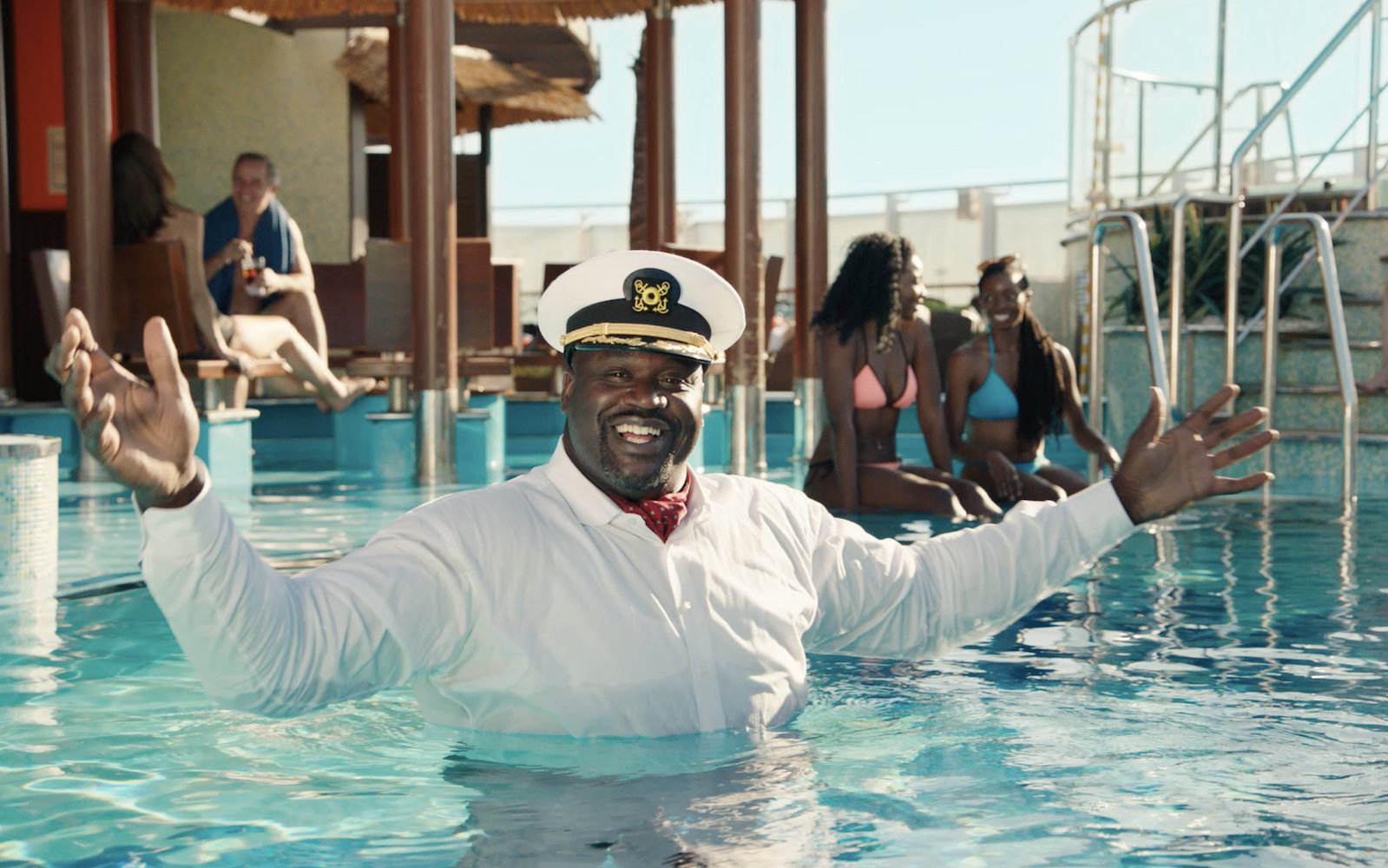 Former NBA star Shaq in a Carnival Cruise pool