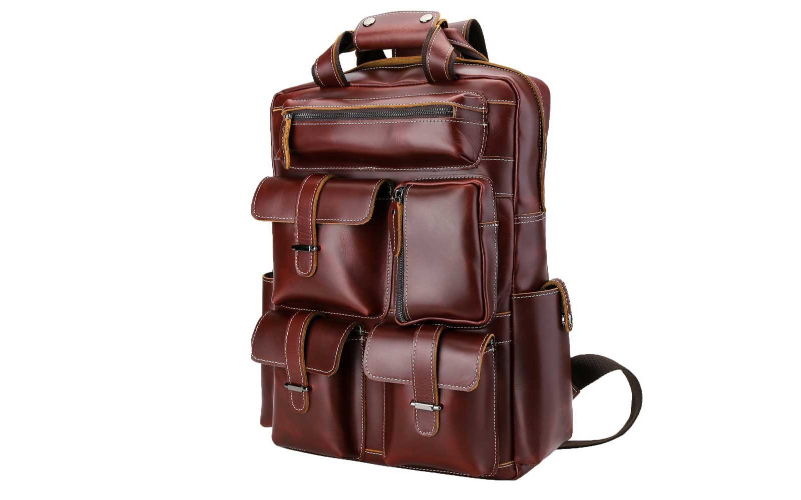 ffdaa28398 Pockets Galore  Polare. Leather backpack. Courtesy of Amazon
