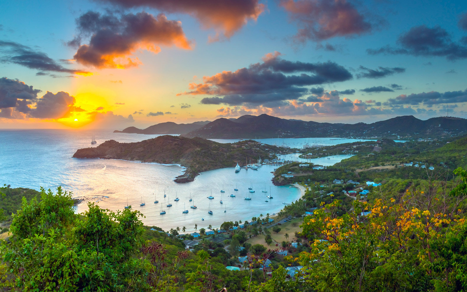 Caribbean, Antigua, English Harbor from Shirley Heights at sunset