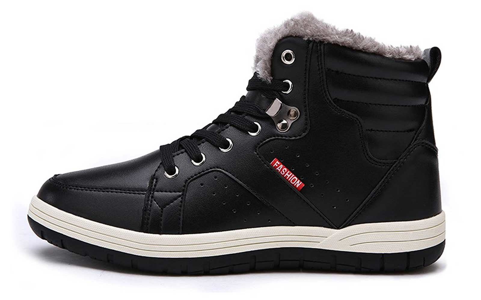 Ceyue Men's Leather Snow Boots